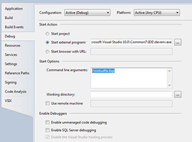 Configure VSIX project to enable debugging
