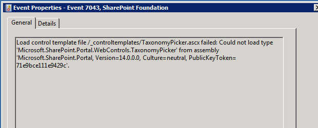 "Fixing ""Could not load type Microsoft.SharePoint.Portal.WebControls.TaxonomyPicker"""