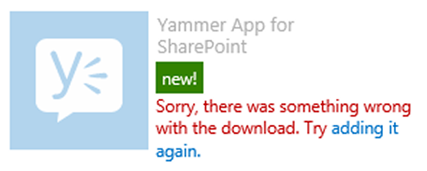 Yammer SharePoint App Installation Error