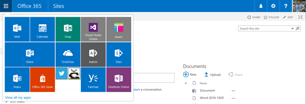 Office 365 SuiteBar becomes responsive