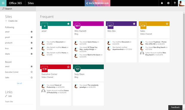 The Future of SharePoint paradigm series – First look at the SharePoint Home
